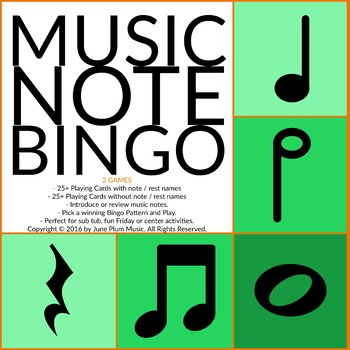 Music Bingo for Quarter, Half and Whole Notes