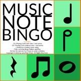 Music Note Bingo #1 for General Music, Band, Piano, Chorus