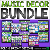 Music Posters BUNDLE - Editable BOLD & BRIGHT Music Bulletin Board Set