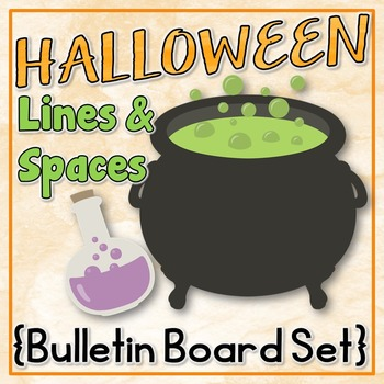 Music Bulletin Board: Halloween Themed Lines and Space Bul