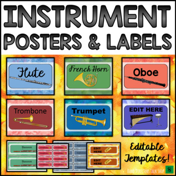 Music Bulletin Board: Instrument Posters, Labels & Music Classroom Decor