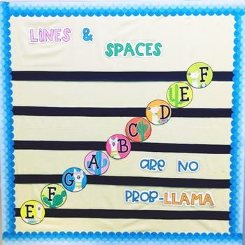 Music Bulletin Board: Llama Themed Lines and Spaces Bulletin Board