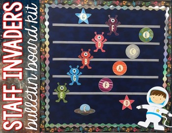 Music Bulletin Board - Staff Invaders {Space Theme Music Room Set}