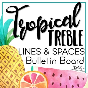 Music Bulletin Board: Tropical Treble Lines and Spaces Bulletin Board Kit