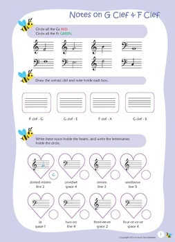 Music Bumblebees Aural & Theory - Music Concepts - Notes on Ledger Lines