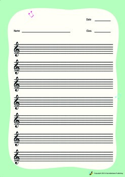 Music Bumblebees Free Blank Worksheet - Musical Stave with G Clef