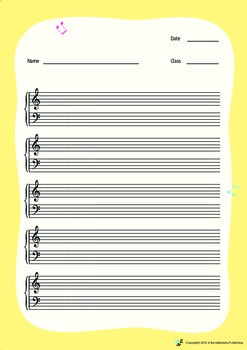 Music Bumblebees Free Blank Worksheet - Musical Stave with Grand Clef