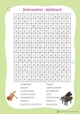 Music Bumblebees Word Search Worksheets - Instruments