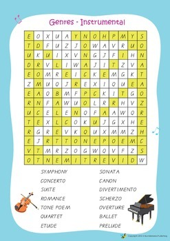 Music Bumblebees Word Search Worksheets - Musical Terms