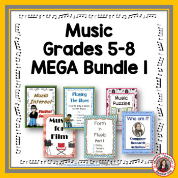 Music Activities and Worksheets - Bundle 1 Grades 5-8