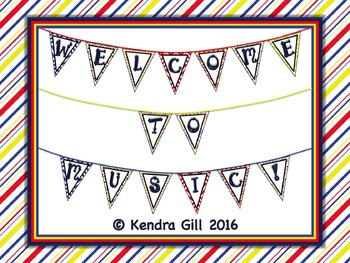 Music Bunting - Primary Color Themed