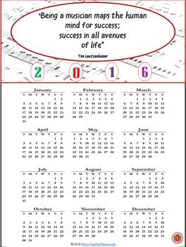 Music Calendar 2016 FREEBIE
