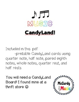 Music Candyland Cards - a supplement to the board game Candy Land