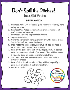 Music Center: Don't Spill the Pitches! - Bass Clef Pitch Note Reading Game