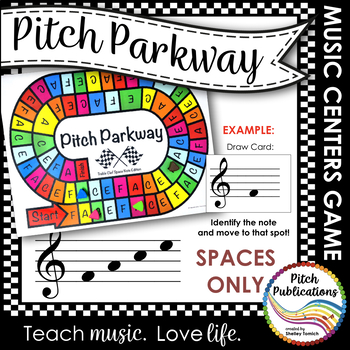Music Centers: Pitch Parkway - Treble Clef SPACE NOTES ONLY Game, Practice
