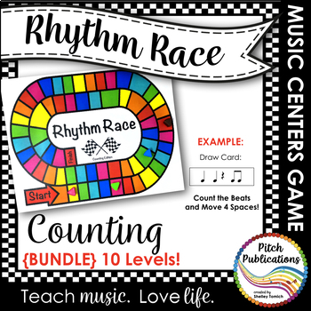 Music Centers: Rhythm Race Counting Edition {BUNDLE} Levels B + 1-9