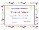 Music Certificate and Concert Program Templates with Re-useable Clip Art