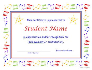 Music certificate and concert program templates with re useable clip art yadclub Choice Image