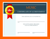 Music Certificate of Achievement