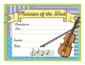 Music Certificates - Musician of the Week Reproducible Award Certificate