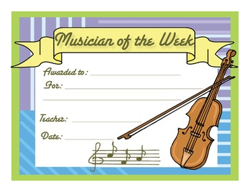 Music Certificates - Musician of the Week Reproducible Award Certificate