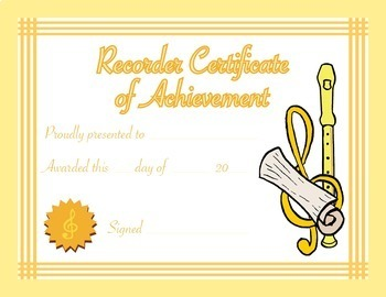 Music Certificates - Recorder Certificate of Achievement Reproducible Award