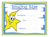 Music Certificates - Singing Star Reproducible Award Certificate