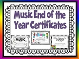 Music Award Certificates for End of the Year Awards