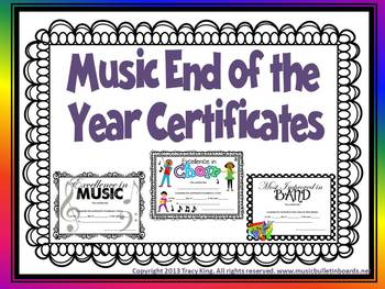 Music Certificates for End of the Year Awards -3 Designs,