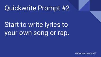 Music Class AVID Quickwrite Prompts