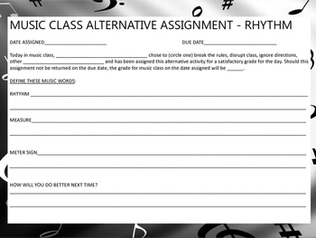 Music Class Alternative Assignment: Rhythm (Behavior Slip)