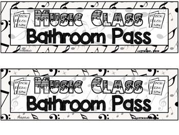 Music Class Bathroom Pass (with Editable PDF)