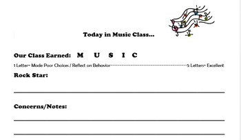 Music Class Behavior Note