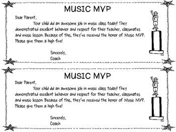 Music Class Behavior Notes (Sports Theme)
