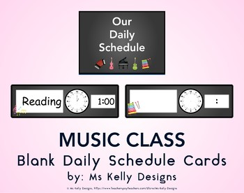 Music Class Blank Daily Schedule Cards