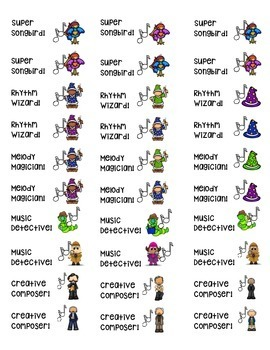 Music Class Brag Stickers - Positive Behavior Incentives