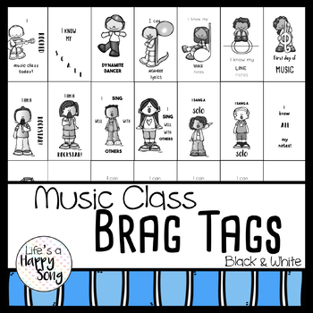 Music Class Brag Tags - Black & White