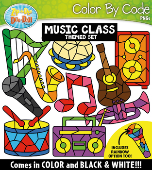 Music Class Color By Code Shapes Clipart