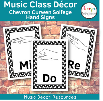 Music Class Decor -  Chevron Curwen Solfege Hand Signs
