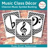 Music Class Decor - Chevron Music Symbol Bunting