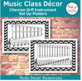 Music Class Decor - Chevron Orff Instrument Set Up Posters