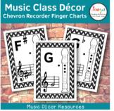 Music Class Decor - Chevron Recorder Finger Charts
