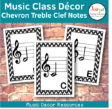 Music Class Decor -  Chevron Treble Clef Posters