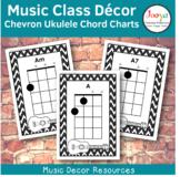 Music Class Decor -  Chevron Ukulele Chord Charts
