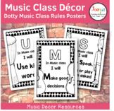 Music Class Decor - Dotty Music Class Rules Posters