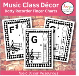Music Class Decor - Dotty Recorder Finger Charts