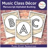Music Class Decor - Manuscript Music Paper Alphabet Bunting