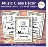 Music Class Decor - Manuscript Paper Music Class Rules Posters