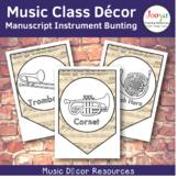 Music Class Decor - Manuscript Paper Orchestra Instrument Bunting