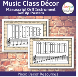 Music Class Decor - Manuscript Paper Orff Instrument Set U